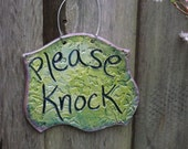 Lime Green with Navy and Lavendar Please Knock Ceramic Sign