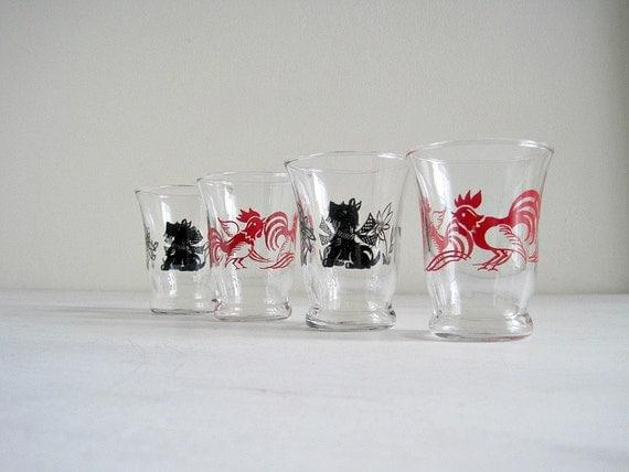 Vintage Rooster & Scottie Dog Juice Glasses