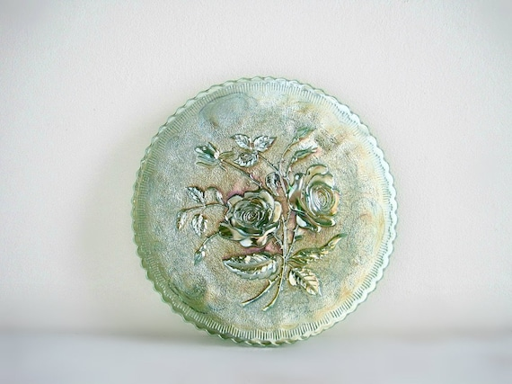 Vintage Green Carnival Glass Plate - Imperial Open Rose