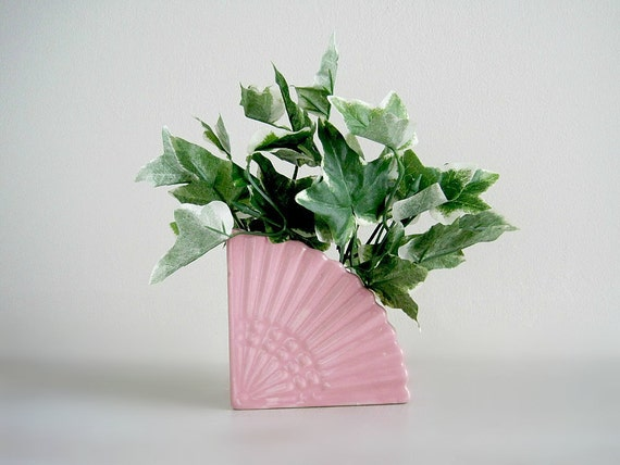 Vintage Pink Pottery Fan Planter Bookend - Cottage Chic