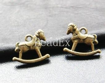 10pcs / Rocking Horse / Antique Brass / Base Metal / Charm 19x17mm (XB154//A31)