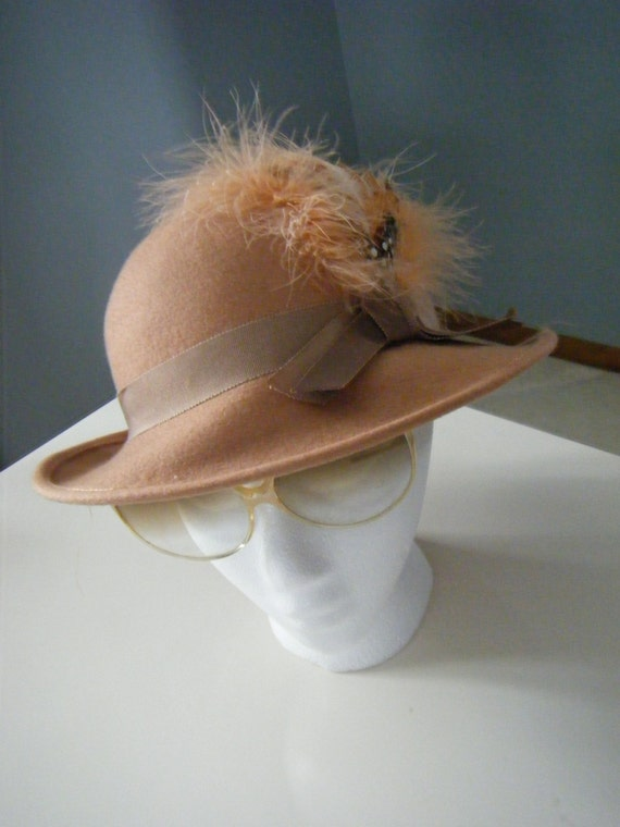 RESERVED Vintage 1950s old hollywood glam avant garde Lancaster feather fedora