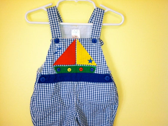 Vintage 1980s Nautical Sailboat Applique Checkered Gingham Jumper