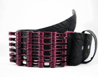 Recycled Bike Chain Belt Buckle- Curved- Rasperry Finish
