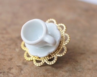 Teacup Brooch - Coffee Cup Jewelry - Statement Brooch - Whimsical Jewelry - Vintage Inspired Accessories - Miniature Tea cup - Costume Pin