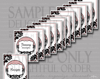 Receipt Organizing Printable Pack - (13) Printable PDF files - Instant Digital Download