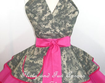 Pin Up ACU Army Wife Digital Camo Apron