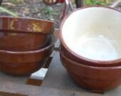 Set of 4 Little Brownware Stoneware Bowls