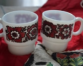 Vintage Red and Black Flowered Fire King Cofee Mugs
