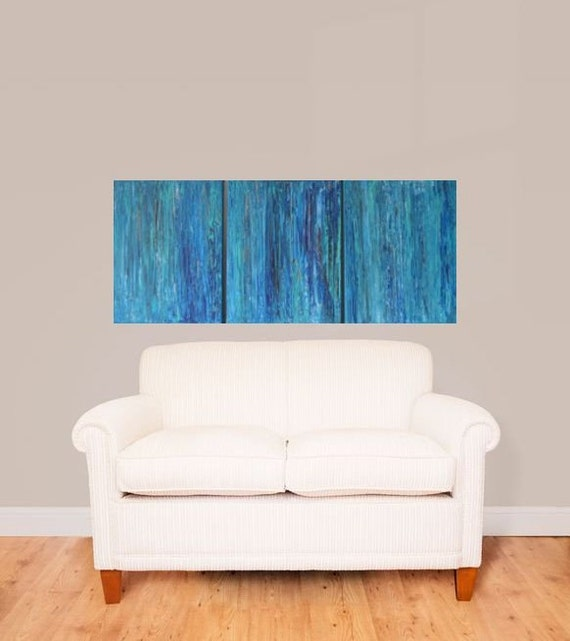 14x33 Multi Panel Abstract Earthy Zen blue teal copper sea green by MyImaginationIsYours