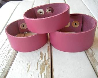 Leather Cuff Bracelet - 1.25 Inch Wide Genuine Leather in FUCHSIA - HOT PINK - Cuff Wristband - Cuff Blank - Hand Stamped Jewelry Supply