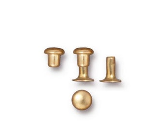 Tierra Cast SUPER Mini Single Cap Rivets - BRIGHT GOLD Finished Brass - Great for Leather, Metal, Fabric - 10 Pack