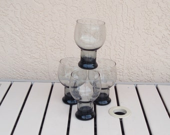Set of 4 Clear Smokey Color Glass Beverage Tumblers Glasses.