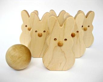 Wooden Toy Bunny Bowling Set of 6 Skittles, wood toddler toy