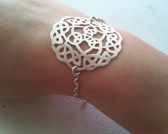 Silver Oriental Ornament Bracelet Handcrafted