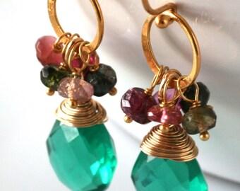 Emerald Green, Gemstone Earrings, OOAK, Bezel Set, AAA Green Quartz, Tourmaline, Cluster Earrings