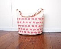 Diaper Bag / Nappy Bag / Daycare Bag - Pink Elephants (Made to Order)