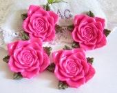 4 Pcs-Resin Flower Cabochons (Hot Pink) 40mm