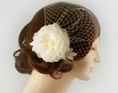 Pure Silk Bridal Headpiece Flower with Bandeau Birdcage Veil Cage Veil Bridal Veil Lace Flower Bridal Headpiece with Veil Freshwater Pearl