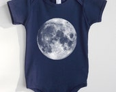 Full Moon Baby One Piece - Navy American Apparel Baby Outfit - Available in 3-6MO, 6-12MO, 12-18MO