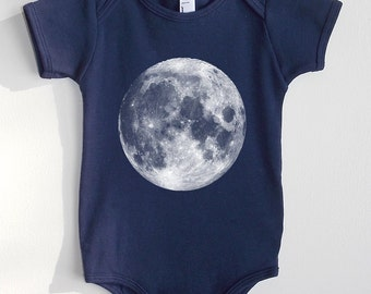 Full Moon Onesie - Navy American Apparel Baby One Piece - Available in 3-6MO, 6-12MO, 12-18MO