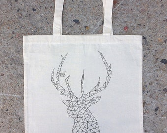 Hand Drawn Elk Made of Triangles - Screen Printed Tote Bag