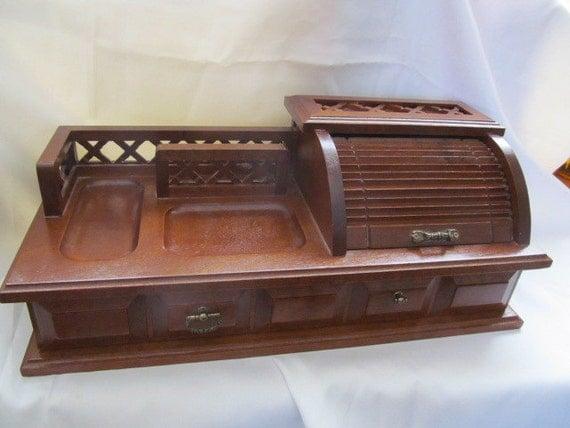 Vintage Wood Roll Top Mens Valet Jewelry Dresser Box Organizer