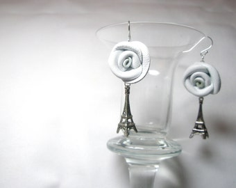 Handcrafted White  Leather  Rose Bow and Eiffel Tower Earrings