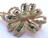 Vintage 1960's Coro green rhinestone flower brooch pin, gold enamel flower brooch, costume jewelry, flower power, rhinestone brooch