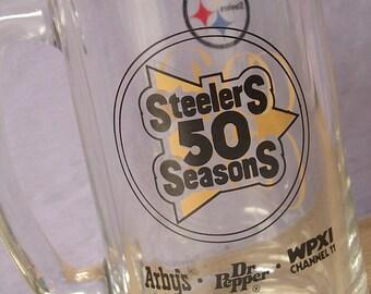Vintage Pittsburgh Steelers 50th season glass mug, 1982, football barware,  beer mug, black and gold collectible