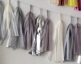 Vintage Inspired Silver Lining Sparkle & Shine Tissue Tassel Garland