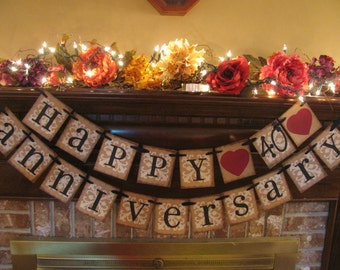 Golden Wedding Anniversary Banner 50th Anniversary Sign Garland Bunting Can Custom Hearts to Gold (W17)