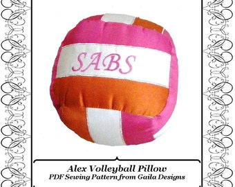 "Volleyball Pillow PDF Sewing Pattern DIY home decor ""Alex"""