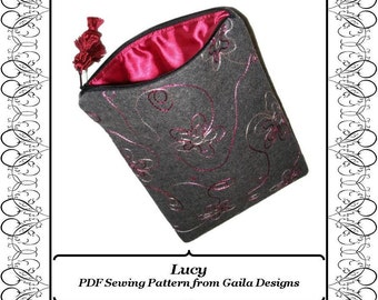 """PDF Sewing Pattern  for iPad, iPad Air, iPad Pro 9.7"""", tablet or Kindle Fire 10"""" case cover with zipper fully lined """"Lucy"""""""