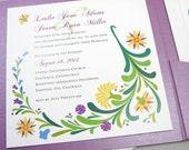 Wedding Invitation Pocketfold Bright Bold Floral Spring Summer Garden Invite Casual Purple Yellow Flowers Modern Custom Invite