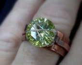 Handmade Peridot ring, copper ring, Wide Copper Ring with outer band, Peridot CZ wire wrapped...Green with Envy