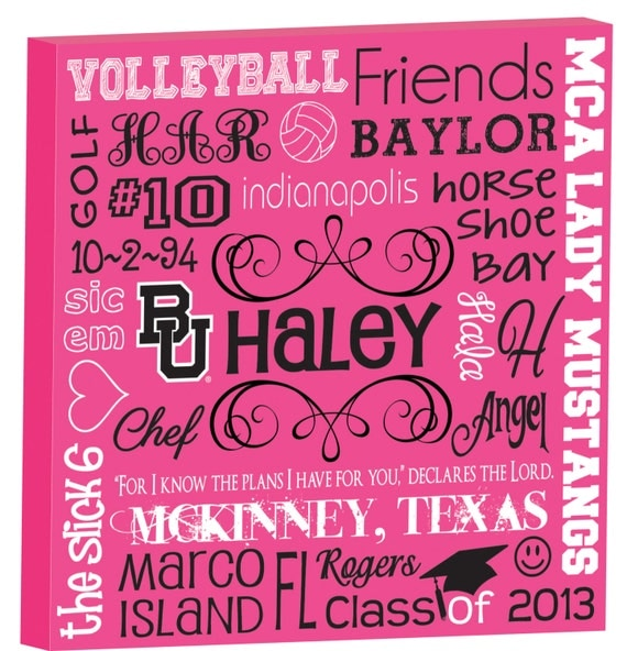 Personalized Typography GIRLS Room Art - Graduation - S T O R Y B O A R D - 7 sizes available