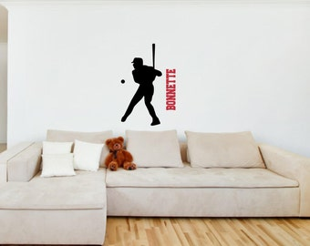 Vinyl Wall Decal Silhouette......Baseball D- 44h x 22 w plus FREE personalization sports silhouette vinyl decal custom decal