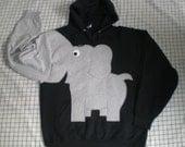 Hooded elephant sweatshirt with trunksleeve. Elephant shirt. Black UNISEX  adult LARGE, black hooded sweatshirt