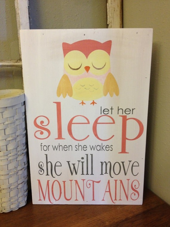 Items similar to let her sleep owl wall art for for Signs for little girl rooms