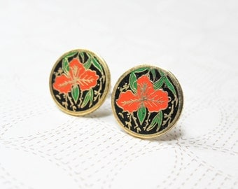 Iris Enamel Earrings - Surgical Steel Earrings - Vintage Cabochons - Shabby Chic Jewelry - Floral Earrings