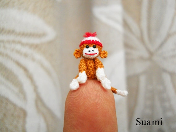 Amigurumi Sock Monkey 0.8 Inch - Tiny Crochet Doll Miniature Sock Monkeys - Made to Order