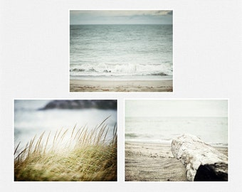 Blue Beach Decor Set, Beach Prints or Canvas Art, Ocean Art Set of 3 Landscape Photographs, Beach Art, Aqua, Turquoise, Beach Pictures.