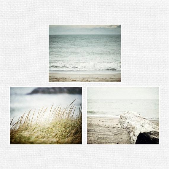 Blue Beach Decor Set, Beach Pictures, Ocean Art Set of 3 Landscape Photographs, Beach Art, Aqua, Turquoise, Beach Pictures.