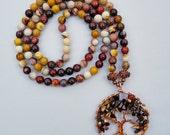 Mookaite 108 Stone Mala Necklace with Mookaite Tree of Life Pendant
