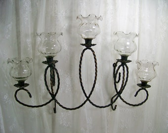 Vintage Black Candle Sconce Twisted Metal 5 Arm Sconce