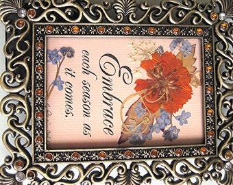 ORANGE Flower Art Brass Pressed Flower Garden Botanical Small Gift Under 20
