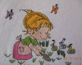 Gardener Completed Counted Cross Stitch