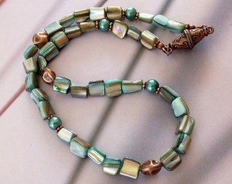 Mother of Pearl Necklace or Bracelet, Mother of Pearl and Copper Necklace, FREE US SHIPPING, Beachy Jewelry, Shell Jewelry