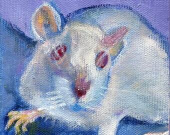 White rat art card, blank inside